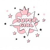 Super Girl comic pop art text in bubble