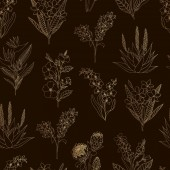 Vector seamless pattern of gold tropical flowers on black