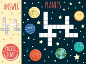 Vector space crossword Bright and colorful quiz for children