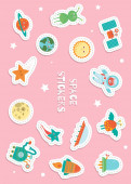 Cute space stickers for children on pink background
