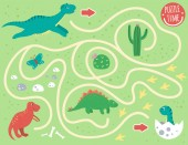 Maze for children Preschool activity with dinosaur Puzzle game