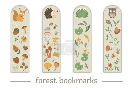 Photo pour Vector set of bookmarks for children with woodland animals theme. Cute smiling baby squirrel, hedgehog, frog, owl on beige background. Vertical layout card templates with forest elements. Stationery for kids - image libre de droit