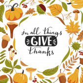 Typography composition for Thanksgiving Day Autumn leaves pumpkin chestnut acorn mushroom and lettering Stylish typography slogan design