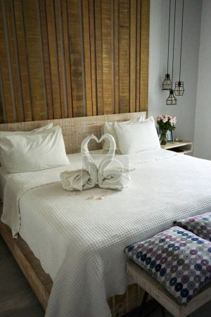 Photo for Interior of a hotel room with a bed - Royalty Free Image