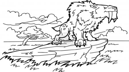 Illustration for Cartoon saber-tooth tiger coloring book - Royalty Free Image