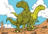 """Постер, картина, фотообои """"Тираннозавр динозавров мультипликационных персонажей. A4"""""""