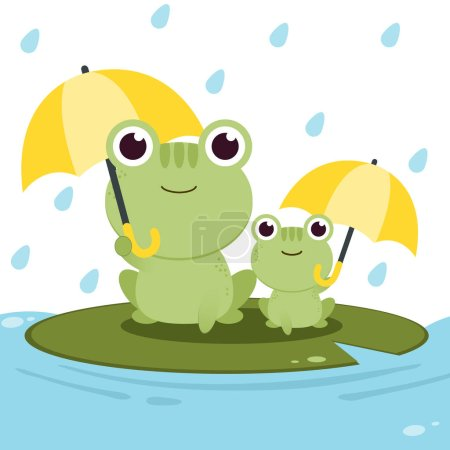 Illustration for The character of frog holding an umbrella in the rain backgroung - Royalty Free Image
