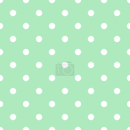 Photo pour White polka dot seamless pattern on the light green background, abstract geometrical simple image illustration - image libre de droit