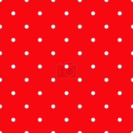 Photo pour Modèle sans couture de point de polka blanc sur le fond rouge, illustration géométrique abstraite d'image simple, ornement de répétition - image libre de droit