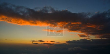 Photo for Dramatic sunset cloudy sky with picturesque clouds. Nature background. - Royalty Free Image