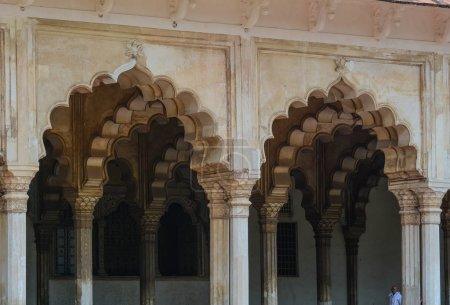 Photo pour Agra, Inde - 13 juillet 2015. Intérieur du Diwan je suis (Hall of Public public) au Fort d'Agra à Agra (Inde) - image libre de droit