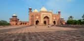 Agra, India - Jul 13, 2015. People visit Taj Mahal in Agra, India. The Taj Mahal was designated as a UNESCO World Heritage Site in 1983.