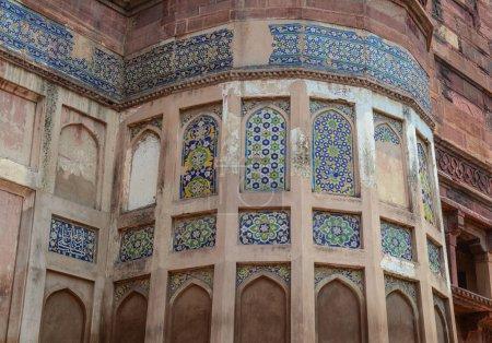 Photo pour Détails du Fort d'Agra à Agra (Inde). Le fort a été construit par les Moghols peuvent être plus précisément décrits comme une ville fortifiée à Agra (Inde) - image libre de droit