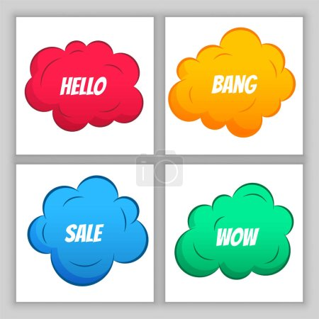 Illustration for Colorful comic clouds background design - Royalty Free Image