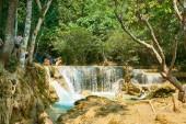 Luang Prabang. Laos. 04.20.2019. People visit Kuangsi Waterfall.