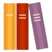 Vector Single Flat Color Icon - Three-Volume Book
