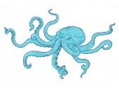 Vector Cartoon Illustration - Turquoise Octopus Wild Underwater Animal