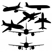 Vector Set of Black Civil Airplanes Silhouettes