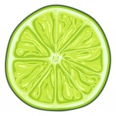 Vector Cartoon Green Lime Round Slice