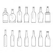Vector Set of Sketch Empty Glass Bottles Illustrations