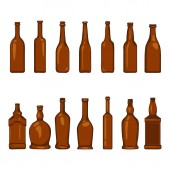 Vector Set of Cartoon Empty Brown Glass Bottles Illustrations