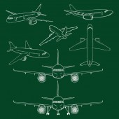 Vector Set of Chalk Sketch Airplanes