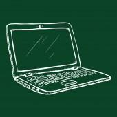 Vector Chalk Sketch Open Laptop