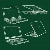Vector Set of Chalk Sketch Laptops