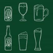 Vector Chalk Sketch Set of Beer Glasses Bottle and Can Outline Illustrations for Bar Menu