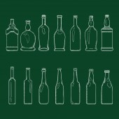 Vector Set of Chalk Sketch Empty Glass Bottles Illustrations
