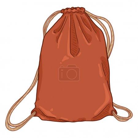 Vector Cartoon Red Drawstring Bag. Textile Backpac...