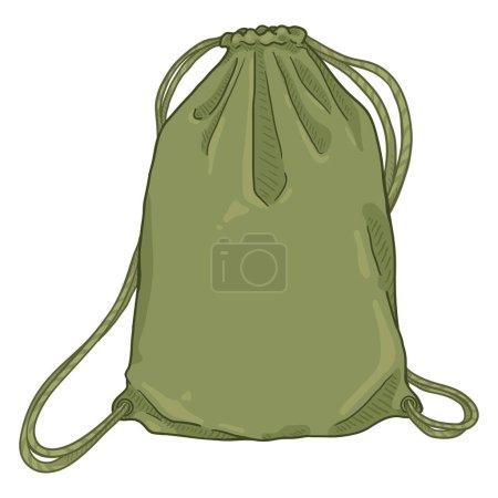 Vector Cartoon Khaki Drawstring Bag. Textile Backp...