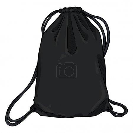 Vector Cartoon Black Drawstring Bag. Textile Backp...