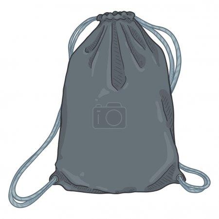Vector Cartoon Gray Drawstring Bag. Textile Backpa...