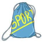 Vector Cartoon Blue Drawstring Bag. Textile Sport ...
