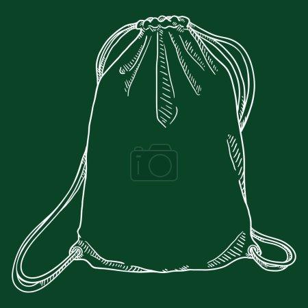 Vector Chalk Sketch Drawstring Bag. Hand Drawn Sho...