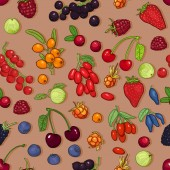 Vector Seamless Pattern of Berries on Brown Background