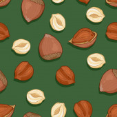 Vector Seamless Pattern of Hazelnuts on Green Background