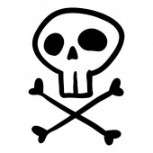 Vector Black Hand Drawn Outline Doodle Skull and Crossbones Funny Pirates Symbol