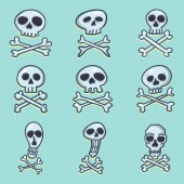 Vector Set of Cartoon Pirate Logos Skull and Crossbones Sign on Blue Background