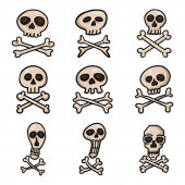 Vector Set of Cartoon Pirate Symbols Skull and Crossbones Signs