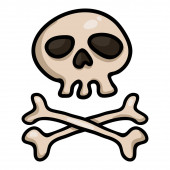 Vector Single Cartoon Skull and Crossbones Doodle Pirates Symbol