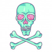 Vector Cartoon Turquoise Skull and Crossbones Illustration
