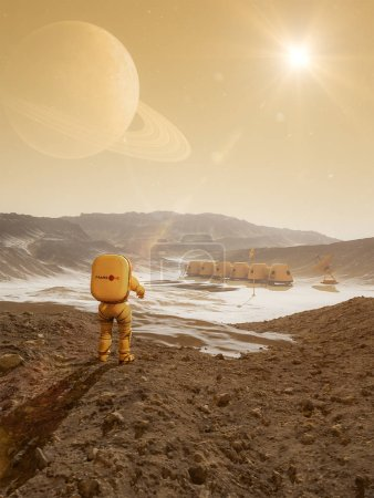 Photo pour Astronaute marchant dans un paysage futuriste de science-fiction de la planète post-apocalyptique, rendu 3D - image libre de droit
