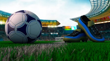 Photo for Close view of soccer ball and soccer shoes of football stadium - Royalty Free Image