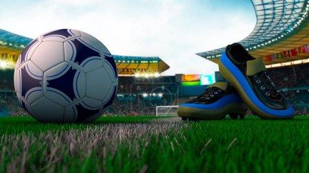 Photo pour Vue étroite de ballon de football et de chaussures de football du stade de football - image libre de droit