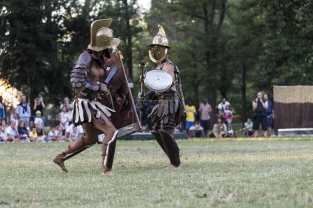 Photo for Gladiator duel scene at historic festival - Royalty Free Image