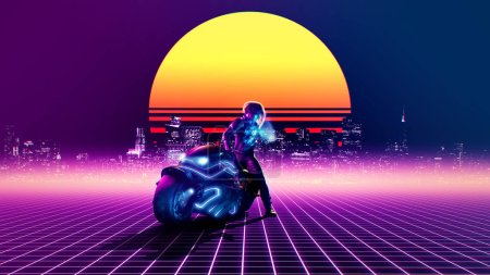 Retrowave concept - futuristic biker watching phone on a abstract landscape - 3d rendering