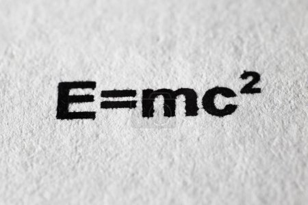 Photo for The formula of relativity theory printed on paper. Macro mode. - Royalty Free Image