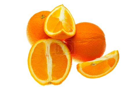 Photo for Cut oranges isolated on white background. - Royalty Free Image